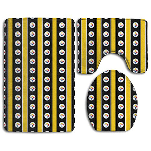 Sorcerer Custom Colorful Doormat American Football Team Pittsburgh Steelers Indoor Bathroom Anti-Skid Mats,3 Piece Non-Slip Bathroom Rugs,Non-Slip Mat Bath + Contour + Toilet Lid (Ben Roethlisberger Blanket)