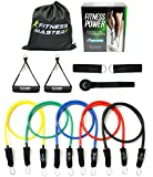 Fitness Master Resistance Band Set with Door Anchor Attachment, Legs Ankle Straps, Case and Exercise Guid, 5-Color