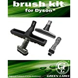 Brush Kit for Dyson vacuum cleaners: horsehair bristle brush, mattress tool, stubborn dirt brush, 2 in 1 combination tool. Genuine Green Label Product.