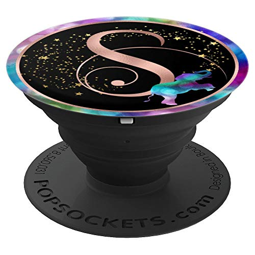 Rose Gold Letter - S Pop Socket Rose Gold Letter Initial - Rainbow Elephant - PopSockets Grip and Stand for Phones and Tablets
