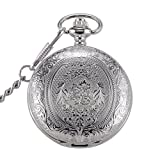 SwitchMe Retro Quartz Pocket Watch Japan Movement Clock with Belt Clip Chain