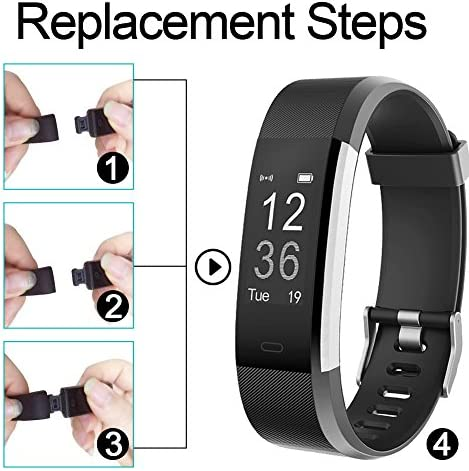 REDGO ID115Plus HR Replacement Band, Fitness Tracker Straps for ID115 Plus HR Bracelet, ID115HR Plus Pedometer, Not for ID115 or ID115HR, Black, Purple 5