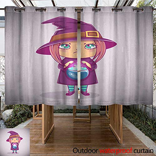 RenteriaDecor Outdoor Curtains for Patio Waterproof Halloween Little Witch Girl Kid with Angry face in Halloween Costume with Cauldron Vector Illustration W108 x L72]()