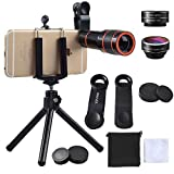 Cell Phone Camera Zoom Lens Kit,EZVING 4 in 1 HD 12X Optical Telescope Zoom Lens Fisheye Wide Angle Macro Lens w/Universal Clip Tripod iPhone 6/7/6s Plus,Samsung,Google,LG and Other Smart Phones