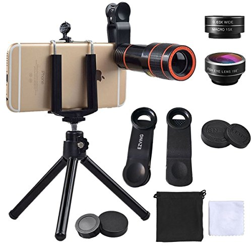 Cell Phone Camera Zoom Lens Kit,EZVING 4 in 1 HD 12X Optical Telescope Zoom Lens Fisheye Wide Angle Macro Lens w/Universal Clip Tripod iPhone 6/7/6s Plus,Samsung,Google,LG and Other Smart Phones by EZVING