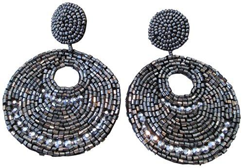 Kenneth Lane Resin Earrings - Kenneth Jay Lane Grey Hematite Seed Bead Gypsy Beaded Drop Pierced Earrings