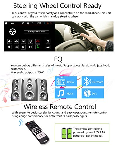 FREE Backup Camera Included + NEW Design Double Din Car Stereo DVD Player GPS Navigation Radio Bluetooth 2 Din Capacitive Touch Screen support USD SD 1080P SWC Car Logo Multi Language Remote Control by EinCar (Image #6)