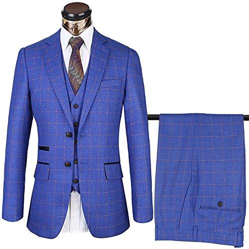 diecaprle Mens Plaid Suit 3 Piece Business Suit Set Jacket+Pants+Vest (2XL(44R),Blue) (Blue Plaid Suit)