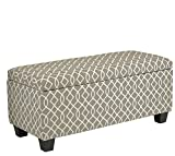 Cortesi Home Kiki Fabric Storage Long Bench Ottoman, Grey Review