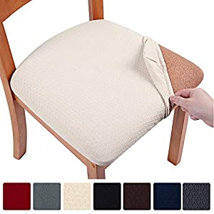 smiry Seat Covers for Dining Room Chairs Stretch Jacquard Dining Room Chair Seat Covers Set of 6, Beige