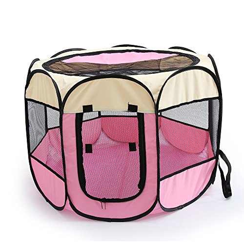 WOWOWMEOW Foldable 8 Panels Pet Playpen Portable Dog Cage Fence Zipper Door Cats, Dogs, Rabbits Small Animals (S, Beige Pink)
