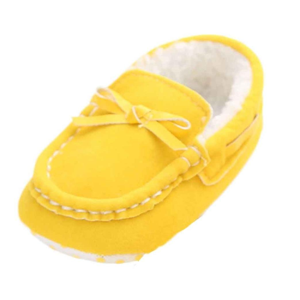 Voberry Newborn Baby Soft Soled Crib Shoes Non-slip Bowknot Gilrs Coral Fleece Shoes Warm