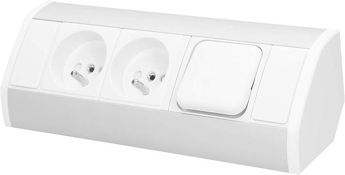 Orno OR-GM-9002/W-G - Enchufe esquinero con 2 enchufes e interruptor y seguro para niños, ideal para cocina, oficina y superficie de trabajo, montaje de 45°, 3680 W, enchufe estándar: schuko (tipo F):