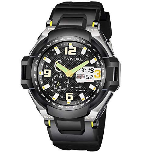 (Men Outdoor Sport Watch Military 50M Waterproof Multifunction Alarm Stopwatch Wristwatch with PU Plastic Strap (Yellow))