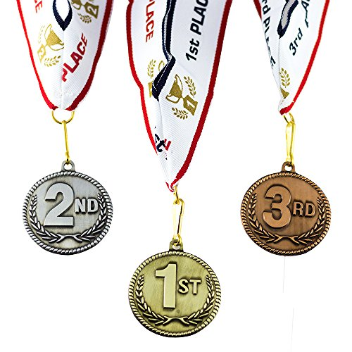 1st 2nd 3rd Place High Relief Award Medals - 3 Piece Set (Gold, Silver, Bronze) Includes Neck Ribbon ()