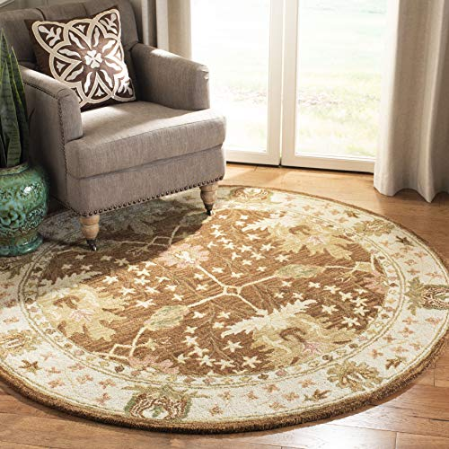 - Safavieh Anatolia Collection AN540B Handmade Traditional Oriental Brown and Beige Wool Round Area Rug (4' Diameter)