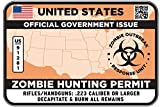 UNITED STATES Type II Zombie Hunting Permit Sticker Size: 4.95x2.95 Inch (12.5x7.5cm) Decal