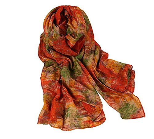 Women's Fashion Print Cotton Linen Hemp Fabric Blended Infinity Flowers Long & Soft Scarf Wrap Shawl Scarf (Orange Green) - Scarf Prints Cotton Linen