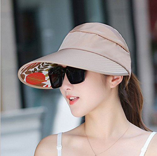 Women's Sun Hat, Summer Leisure UV Protective Visor Hat,Foldable Wide Brim Empty Top Sun Hat for Travel Beach - Khaki by Eastever (Image #4)