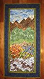 Wall Art, Tahoe Mountain Stream and Flowers Landscape Quilt Fabric Hanging 24 x 48''