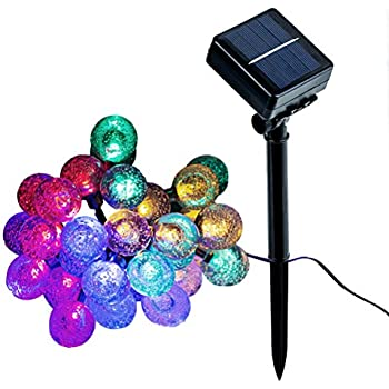 JML Solar String Lights, 20ft 30 LED Crystal Ball Lights, 8 Modes Waterproof Lights for Garden, Wedding, Patio, Party, Dancing