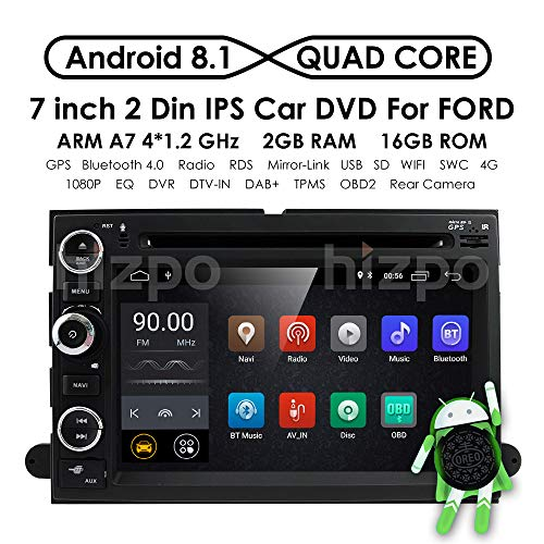 hizpo Android 8.1 Car GPS Navigation Fit for Ford F150 F250/350/Edge/Fusion/Mustang in Dash DVD Player Stereo Radio BT SWC WiFi 4G Support DVR TV DAB+TPMS