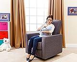 Abbyson Hampton Nursery Swivel Glider Recliner Chair, Gray For Sale