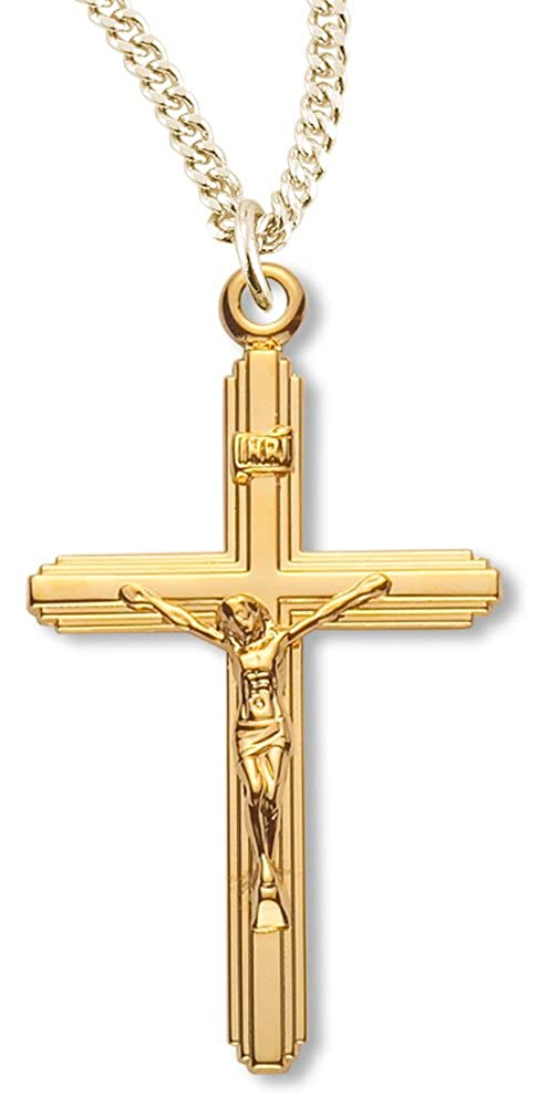 18 Inch Gold Plated Chain /& Clasp Womens 16kt Gold Over Sterling Silver Crucifix Pendant Beveled Edge