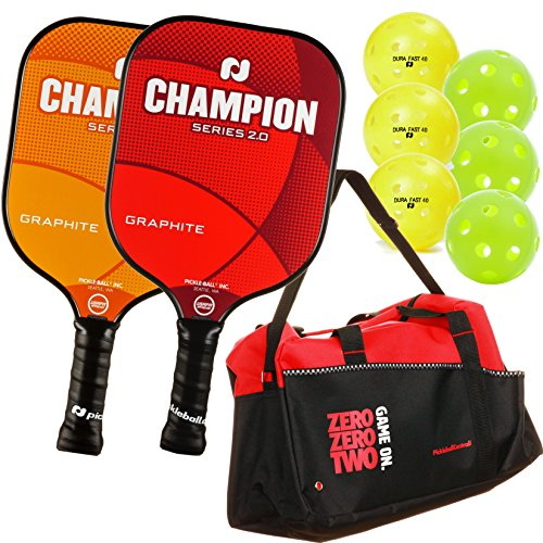 Pickleball, Inc. Champion Graphite Paddle 2-Paddle Bundle (2 Champion Graphite Paddles, 1 Pickleball Duffle, 3 Indoor Jugs pickleballs, 3 Outdoor Dura Pickleballs) (Three Jug)