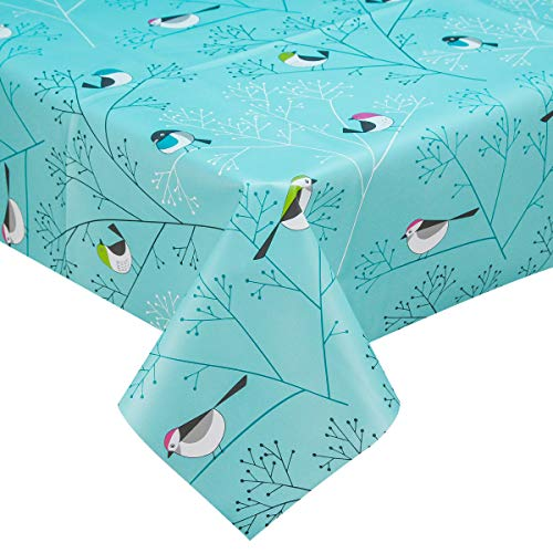 - LOHASCASA Rectangle Vinyl Tablecloth Wipeable Oil-Proof Waterproof PVC Heavy Duty Long Oilcloth Tablecloth Turquoise Bird 54 x 108 Inch