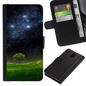 KingStore / Leather Etui en cuir / Samsung Galaxy Note 3 III / Noche estrellada Meadow árbol Naturaleza Mystic
