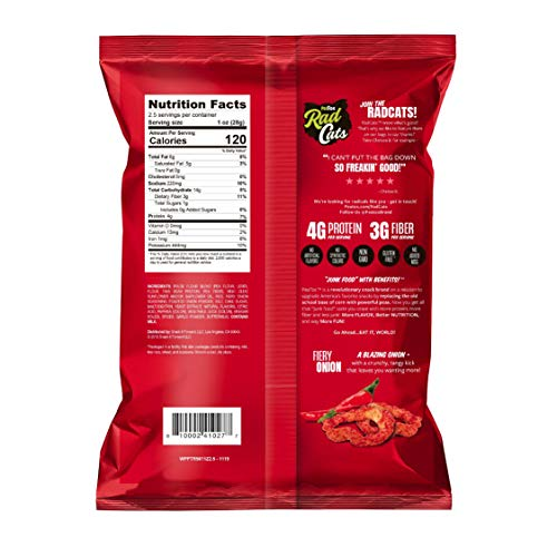 PeaTos Crunchy Rings Snacks, Fiery Onion, 2.5 Ounce (4 Count), Junk Food Taste, Made from Peas, 4g Protein and 3g Fiber, Pea Plant Protein Snack, Junk Food, Spicy, Flavor First