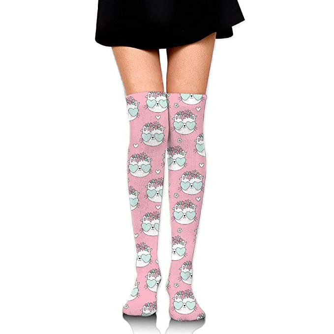 8aaf951a6 Image Unavailable. Image not available for. Color  Women s Girls Pink Cat  Casual Socks Yoga Socks Over The Knee ...