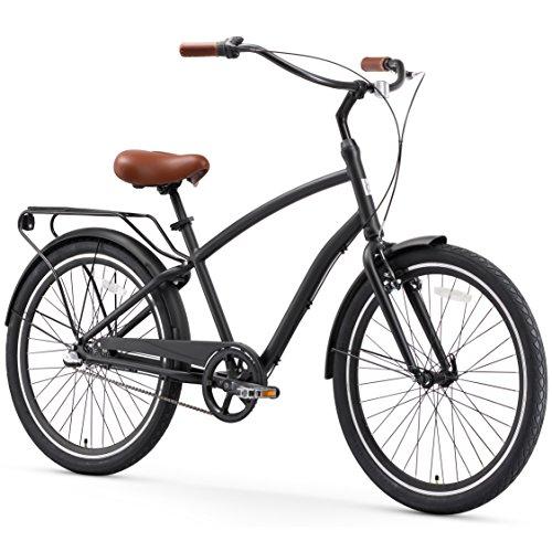 Bicycles Road Vintage (sixthreezero EVRYjourney Men's 3-Speed Hybrid Cruiser Bicycle, Matte Black w/Brown Seat/Grips)
