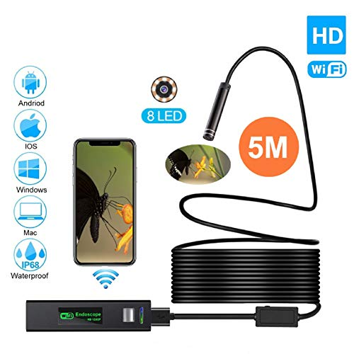 Wireless Endoscope, Snake camera, 8 LED 8.0MM Flexible Waterproof Semi-rigid USB WiFi Endoscope Camera, 2.0 Megapixel HD Cell Phone Inspection Camera for Android IOS System, Endoscope android, usb end