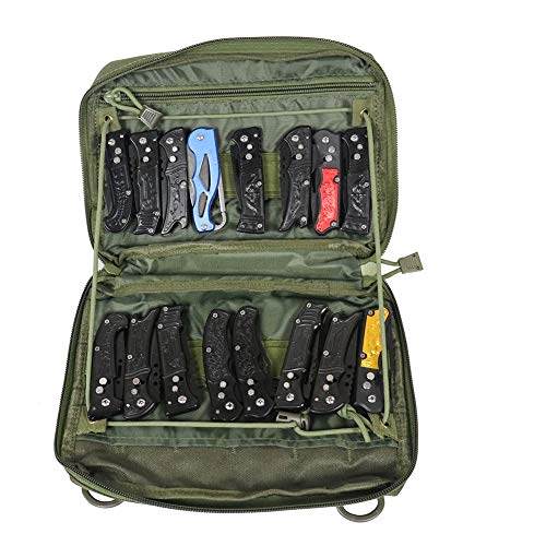 Super Pocket Knife Bag, Tactical Knife Storage Case, Folding Knife Collecting Pouch, Large Capacity Small Knife Carrier Protectors, Versatile Knife Small Tools Holder (HGJ363) (Army Green)
