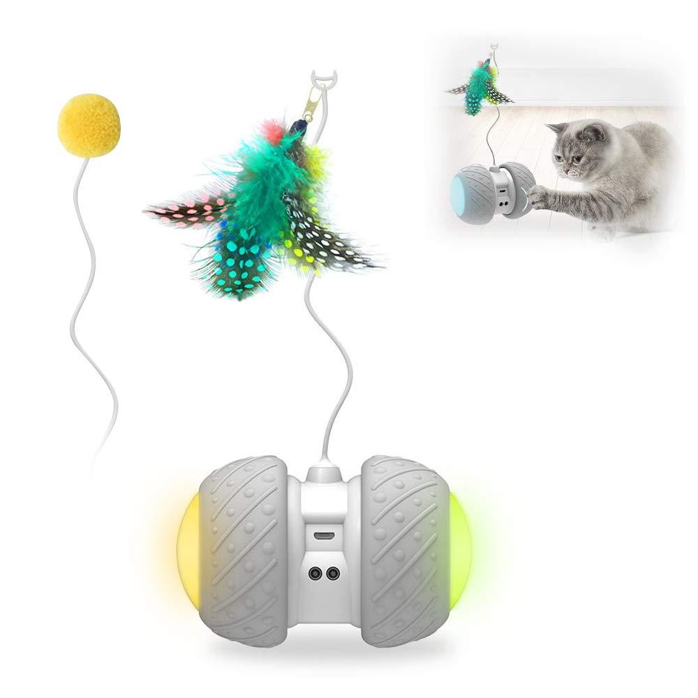 Weehey Giochi per Gatti Giocattoli interattivi Giocattoli Automatici Giocattoli per Gatti Giochi Automatici a Rotazione Automatica per Gatti Senso Ostacoli Automaticamente con Palla di Piume