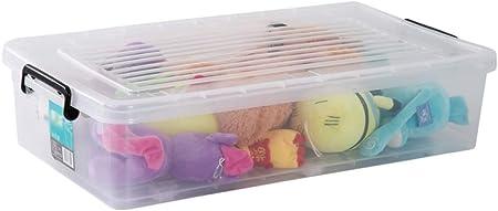 QXTT Caja De Almacenamiento Multiusos Bajo Cama Ruedas Plástico Transparente con Tapa para Ropa De Cama Libro Merienda: Amazon.es: Hogar
