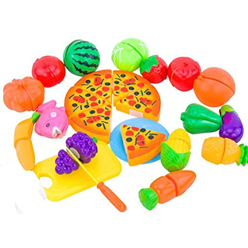 Lanlan 24PCS Plastic Cutting Fruits Vegetables Pizza Toys Dress Up Pretend Play Kitchen Toys Play Food Kid Birthday New Year Christmas Toy (Fireman Dress Up Accessory Kit)