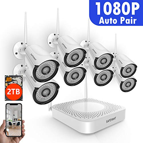 - [Full HD] Security Camera System Wireless,Safevant 8CH 1080P Security Camera System(2TB Hard Drive),8PCS 1080P(2.0MP) Indoors&Outdoors Wireless Security Cameras,Plug&Play,No Monthly Fee