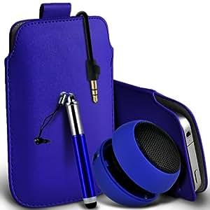 Blackberry Z3 premium protección PU ficha de extracción de deslizamiento del cable En caso de la cubierta de la piel de la bolsa de bolsillo, Retractable Stylus Pen & Mini recargable portátil de 3,5 mm Cápsula Viajes Bass Speaker Jack Blue de Fone-Case
