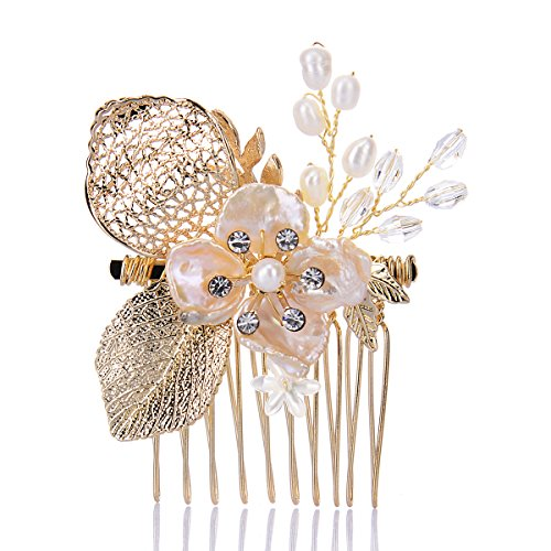 Remedios Handmade Rose Gold Pearl Hair Comb Wedding Hair Accessory, (Embellished Rose)