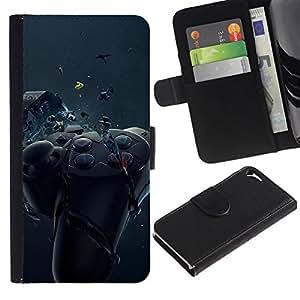 NEECELL GIFT forCITY // Billetera de cuero Caso Cubierta de protección Carcasa / Leather Wallet Case for Apple Iphone 5 / 5S // Controlador de juego de Smash