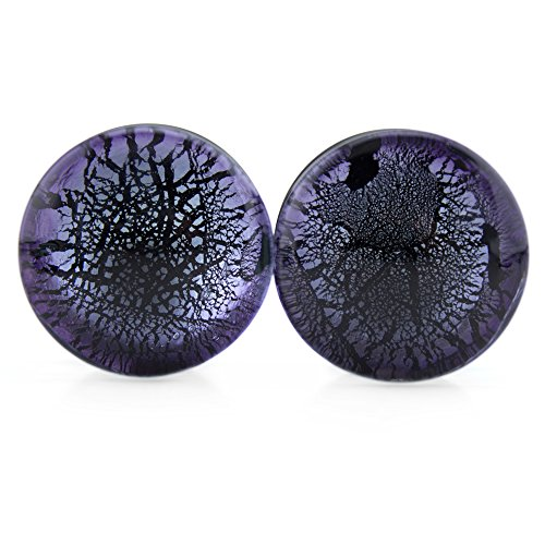 Purple Dichroic Glass Plugs 1 Inch (25mm) - 1 Pair (2 pieces)
