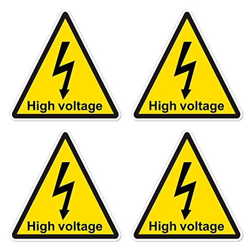 dealzEpic - Yellow Triangle High Voltage Electric Shock Risk Warning Sign - Self Adhesive Peel and Stick Vinyl Sticker - 3.94 x 3.94 inches | Pack of 4 ()