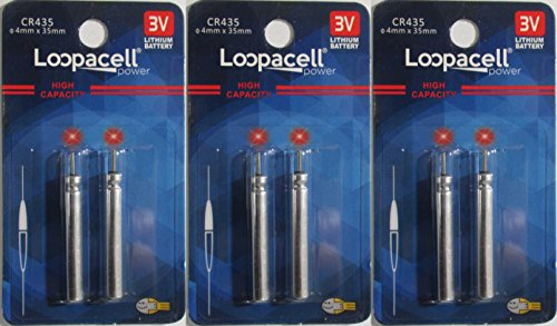 - 6 Loopacell CR435 BR435 435 Lithium Pin Type Cell 3V For Fishing Lures, Fishing Bobbers, Pen Lights, Arrow Nocks, Fishing Floats, Pole Lights, LED Flashers Batteries