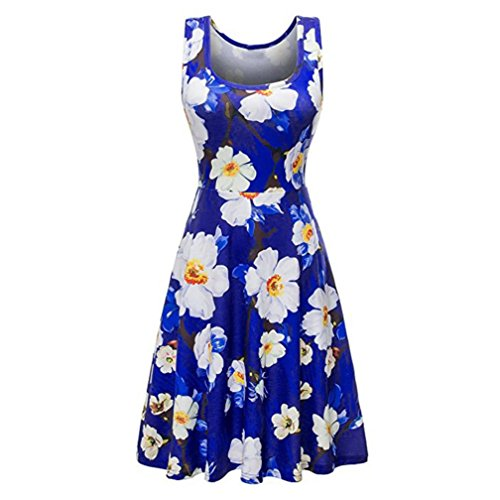 men Summer Vintages Sleeveless Beach Bohe Casual Floral Mini ()