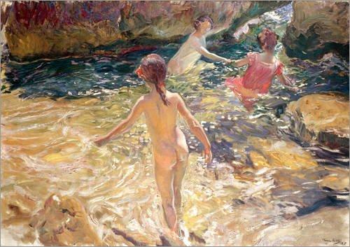 Posterlounge Cuadro de PVC 100 x 70 cm Children Bathing de Joaquin Sorolla y Bastida