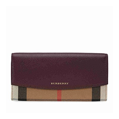 Burberry Women's House Check and Leather Continental Wallet Mahogany