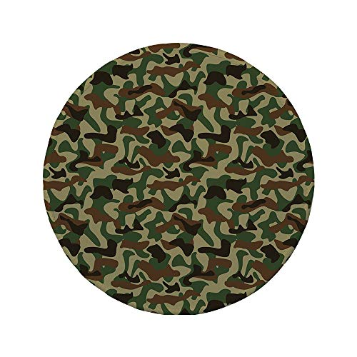Non-Slip Rubber Round Mouse Pad,Camouflage,Military Squad Unit Uniform Design with Vivid Color Scheme Hunting Camo,Green Brown Khaki,11.8